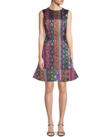 Etro Multi-Ribbon Jacquard Sleeveless Dress with F
