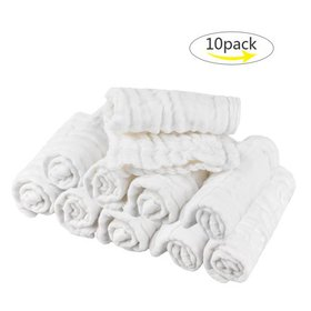 10pcs Baby Washcloths, Two-Sided Towels, Soft Orga