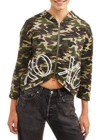 XOXO Juniors' Camo Cropped Zip-Up Hoodie