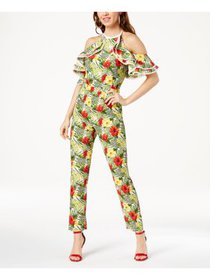 XOXO Womens Juniors Halter Floral Jumpsuit