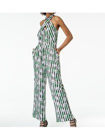 Large Junior Cross-Front Halter Striped Jumpsuit L