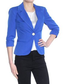 XOXO Womens Blue Button Up Blazer Wear To Work Jac