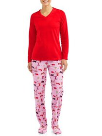Hanes Women's 3-Piece Pajama Set with Sherpa Slipp