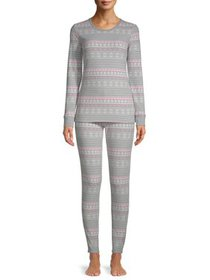 Hanes Women's Thermal Fleece Sleep Set