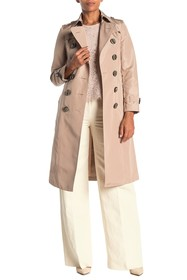 Burberry Double Breasted Belted Silk Trench Coat