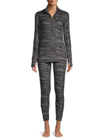 Hanes Women's Knit Thermal Zip Top Shirt and Leggi