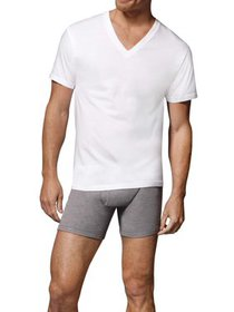 Hanes Mens' White V-Neck T-Shirt, 6 + 1 Bonus Pack