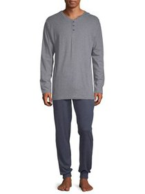 Hanes Men's 1901 Henley and Jogger Pant Lounge Set