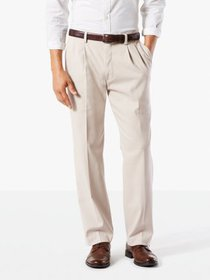 Dockers Men's Classic Pleated Easy Khaki with Stre