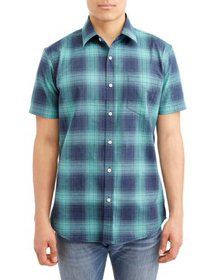 Lee Men's Short Sleeve Heathered Plaid Button Down