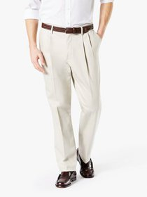 Dockers Men's Pleated Signature Classic Creased Kh