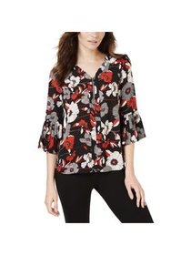 NY Collection Womens Petites Floral Bell Sleeve Bl