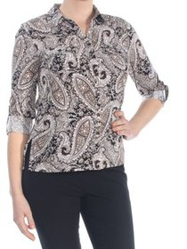 NY COLLECTION Womens Black Paisley Cuffed Blouse W