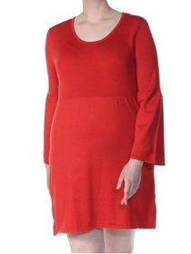 NY COLLECTION Womens Orange Bell Sleeve Mini A-Lin