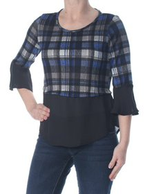 NY COLLECTION Womens Blue Sheer Ruffled Layered Pl