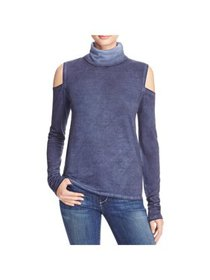 Pam & Gela Womens Faded Cold Shoulder Turtleneck T