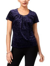 NY Collection Womens Petites Velvet Embellished Pu