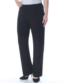 NY COLLECTION Womens Black Pull On Straight leg Pa
