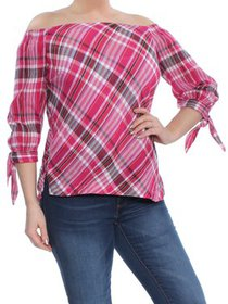RALPH LAUREN Womens Pink Tie Plaid 3/4 Sleeve Off