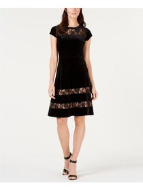 NY Collection - Velvet Lace Fit & Flare Dress - Pe