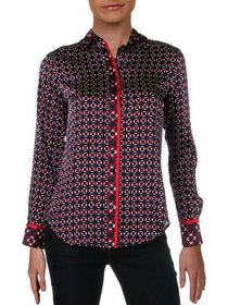 Lauren Ralph Lauren Womens Petites Printed Button-