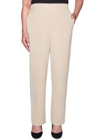 Alfred Dunner Womens Petites Pleated Pull-On Strai