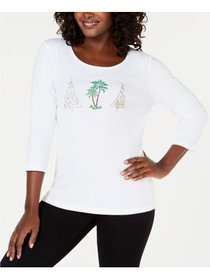 Karen Scott - Holiday-Graphic Top - Petites - PXL