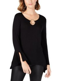 NY Collection Womens Petites O-Ring Flounce Sleeve