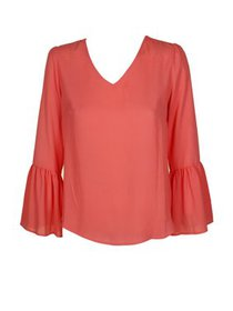 Womens Large Petite Balloon Sleeve Blouse PL