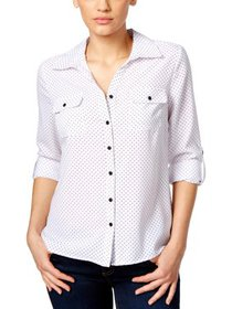 NY Collection Womens Petites Long Sleeves Plaid Bl