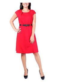 Petite Short Sleeve Belted Dress