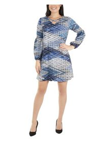Women's Petite Long Sleeve V Neck Lattice Dress