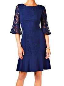 Womens Medium Petite Lace A-Line Dress PM