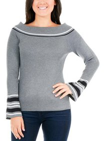 NY Collection Womens Petites Striped Boat Neck Pul