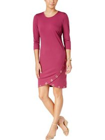 NY Collection Womens Petites Faux-Wrap Embellished