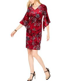NY Collection Womens Petites Velvet Floral Party D