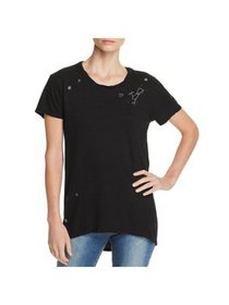 Pam & Gela Womens Petites Embroidered Short Sleeve