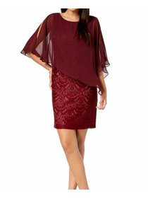 Women's Dress Wine Petite Sheath Lace 4P