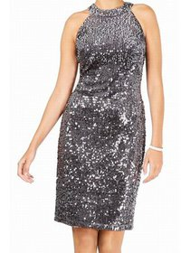 Womens Dress Petite Sheath Sequined Halter 4P