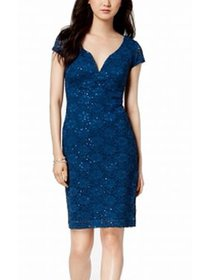 Womens Sheath Dress Petite Sequin Lace 10P