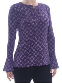 MICHAEL KORS Womens Purple Tie Printed Long Sleeve