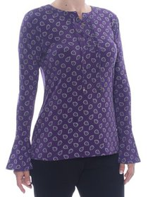 MICHAEL KORS Womens Purple Printed Long Sleeve Top