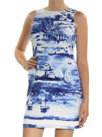 Ralph Lauren Womens Blue Printed Sleeveless Jewel