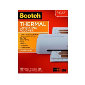 Scotch Premium Thermal Laminating Pouches, 100 Cou