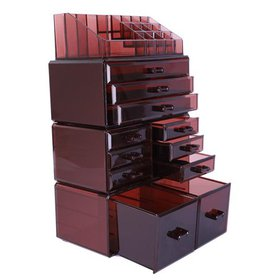 Ktaxon Acrylic Makeup Organizer, Large, Brown