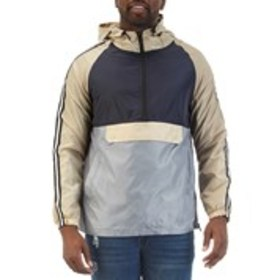 Mens Hooded Zip-Neck Color Block Windbreaker Jacke