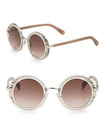 Jimmy Choo 50mm Embellished Round Sunglasses CRYST