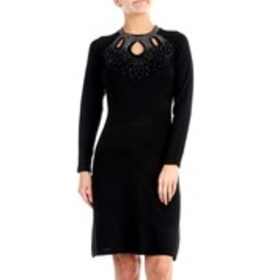 MELROSE CHIC Studded Sweater Dress with 3 Keyhole