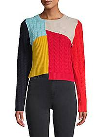 Alice + Olivia Colorblock Wool-Blend Sweater RED M