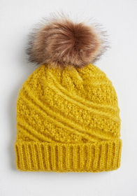 Upbeat Outlook Pom-Pom Beanie Yellow